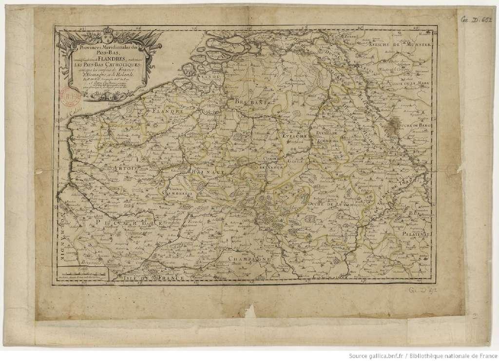 Carte représentant les « Provinces méridionales des Pays-Bas connues sous le nom des Flandres, autrement les Pays-Bas catholiques... », par Pierre Duval en 1672. Bibliothèque nationale de France, GED-652. © Gallica, BnF