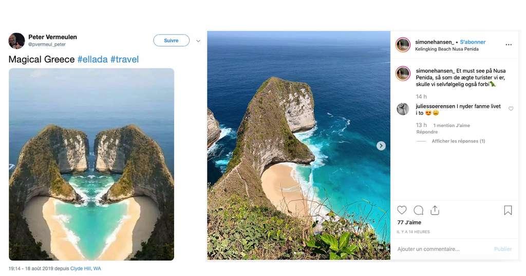 Cette plage de rêve en forme de cœur soi-disant située en Grèce est ainsi un photomontage réalisé à partir de la plage de Kelingking, située sur l'île indonésienne de Nusa Penida. La photo a été simplement dupliquée et retournée en miroir pour donner la fausse plage. © captures écran Twitter, Instagram