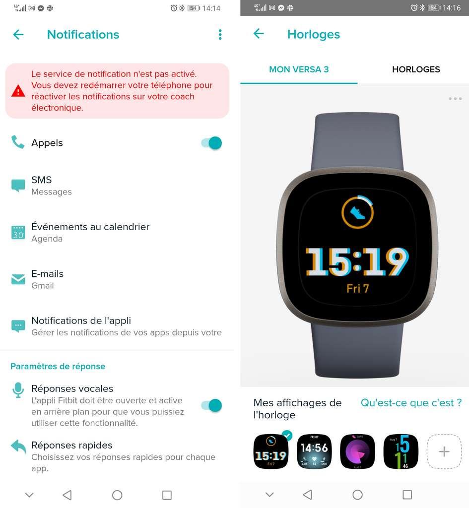 Une fois qu'il est bien réglé, le service de notifications fonctionne parfaitement. Pour personnaliser le cadran, Fitbit propose quelques affichages différents. © Futura