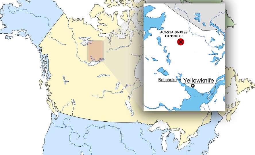Dans le complexe d'Acasta au Canada se trouvent des roches parmi les plus anciennes du monde. © d-maps.com