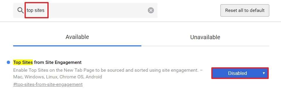 Désactivez le flag « Top Sites from Site Engagement » pour que Google ne mémorise pas les sites que vous visitez le plus. © Google Inc.