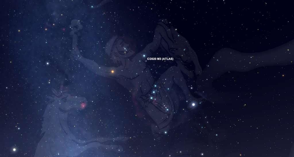 Position de la comète Atlas, vers minuit dans la nuit du 14 au 15 novembre. © SkySafari