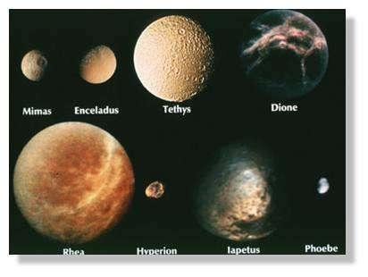 Quelques-uns des satellites glacés de Saturne. © Nasa