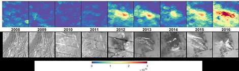 Ici, une série d'images, montrant, en haut, l'augmentation des émissions d'ammoniac sur un site et, en bas, la construction parallèle d'un complexe industriel, quelque part en Chine. © Martin Van Damme et Lieven Clarisse, ULB (IASI); Google, Nasa (Landsat)