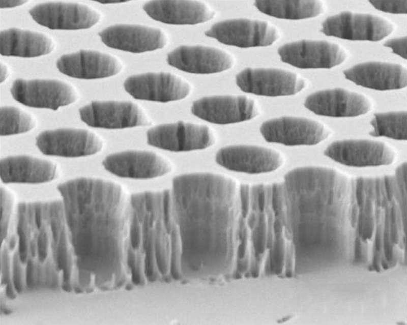 Vue en microscopie électronique à balayage du cristal photonique 2D, structure périodique façonnée dans du tungstène. © Y.X. Yeng et al.
