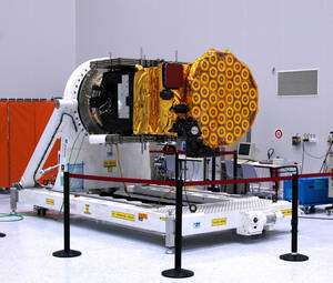 Le satellite Giove B, lancé en 2008 pour garantir les fréquences réservées pour le système Galileo auprès de l'ITU et tester les technologies Galileo. © Esa
