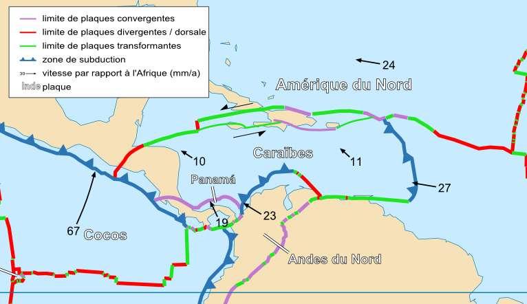 Les séismes mesurés proviennent d'un déplacement de la plaque transformante entre les Caraïbes et l'Amérique du Nord. © Sting et Rémih, Wikimedia Commons, CC by-sa 3.0