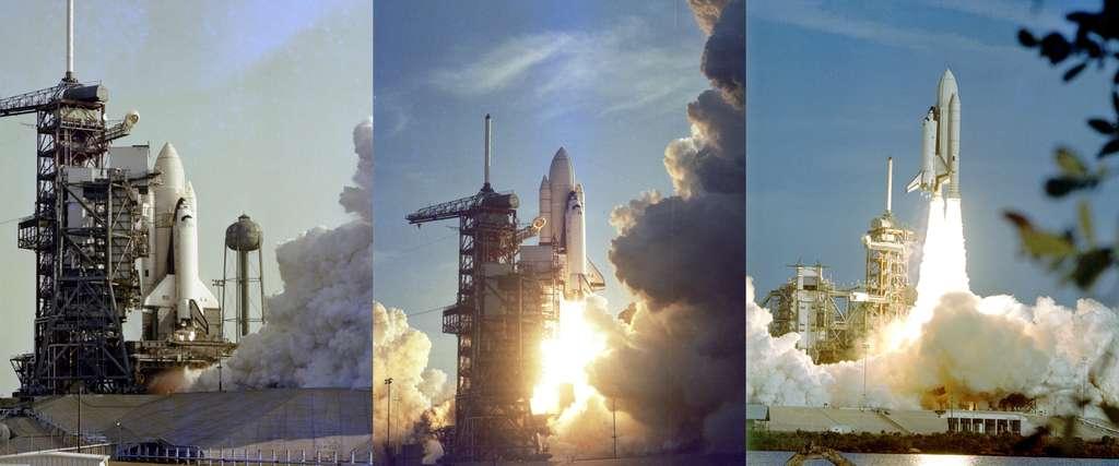 Initialement prévu le 10 avril 1981, le lancement de la première navette fut reporté de deux jours et coïncida avec le trentième anniversaire du vol de Youri Gagarine, le premier Homme dans l'espace. La mission se déroulera sans incident. Deux jours plus tard, le 14, la navette Columbia atterrissait sur la base du Centre de recherche en vol, le centre Dryden. © Nasa.