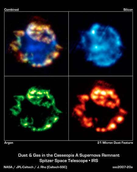 Une série d'images donnée par Spitzer de la nébuleuse de Cassiopée A. Le télescope a détecté de l'argon, du silicium et de la poussière contenant de l'oxyde de fer, du dioxyde de silicium et des proto-silicates. L'image en haut à gauche est une image composite montrant ces différents composants dans le gaz de la nébuleuse. Cliquez pour agrandir