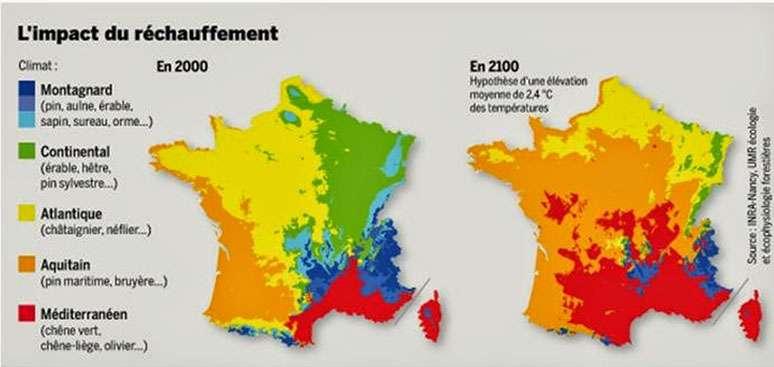 Projection de la mutation des gros sujets (pins, chênes, châtaigniers, érables...) d'ici 2100 en France.