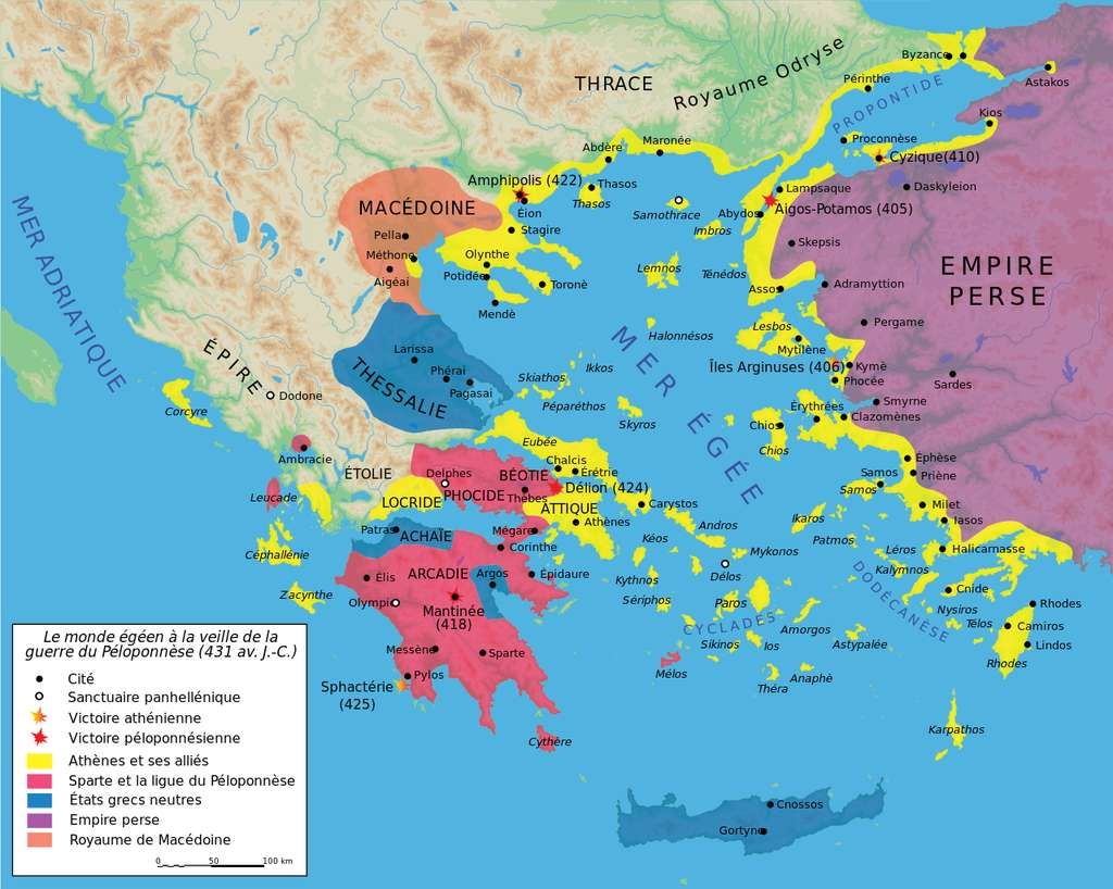 À la veille de la guerre du Péloponnèse. En jaune, Athènes et la Ligue de Délos, et en rouge, Sparte et la Ligue du Péloponnèse. © Graphique Marsyas, Wikimedia Commons by-sa 3.0
