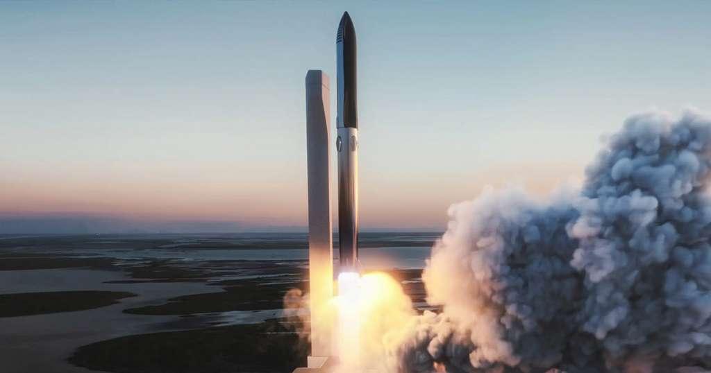 Illustration du décollage de Starship propulsé par le Super Heavy. © SpaceX