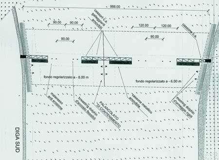 Figure 3 : Schéma de disposition des caissons entre les deux digues de la passe du Lido, d'après le projet ARCA.