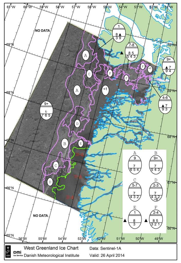 Cartographie de la glace dans l'ouest du Groenland, réalisée à partir d'observations de Sentinel 1A. Actualisées plusieurs fois par jour, si nécessaire, ce type de carte renseigne sur l'état des surfaces glacées, la formation et le déplacement des icebergs d'un jour à l'autre. © Esa