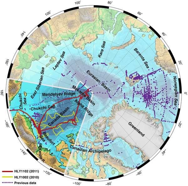 Les mesures sur lesquelles est basé cette étude couvrent la période 2010 (tracé jaune) et 2011 (tracé rouge). Ces deux trajets de données englobent le bassin canadien. © Robbins et al., Plos One, 2013