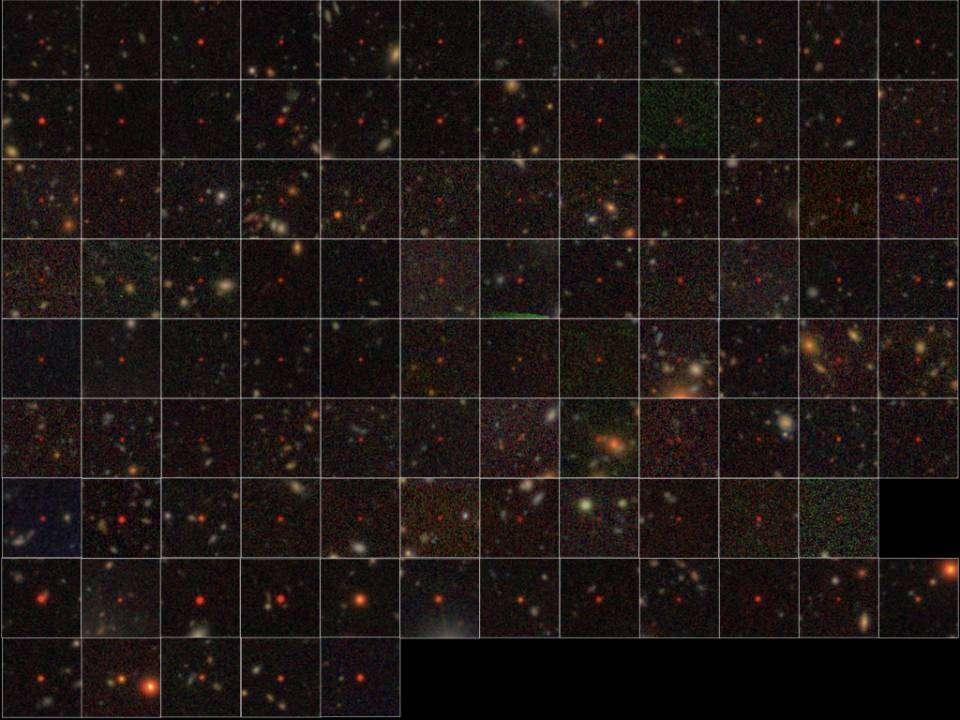Les 83 nouveaux quasars (toutes les lignes sauf les deux dernières) et les 17 autres déjà connus (deux dernières lignes en bas de l'image) identifiés dans les données du télescope japonais Subaru. Leur couleur écarlate provient du décalage vers le rouge observé pour les objets très distants. © National Astronomical Observatory of Japan (NAOJ)