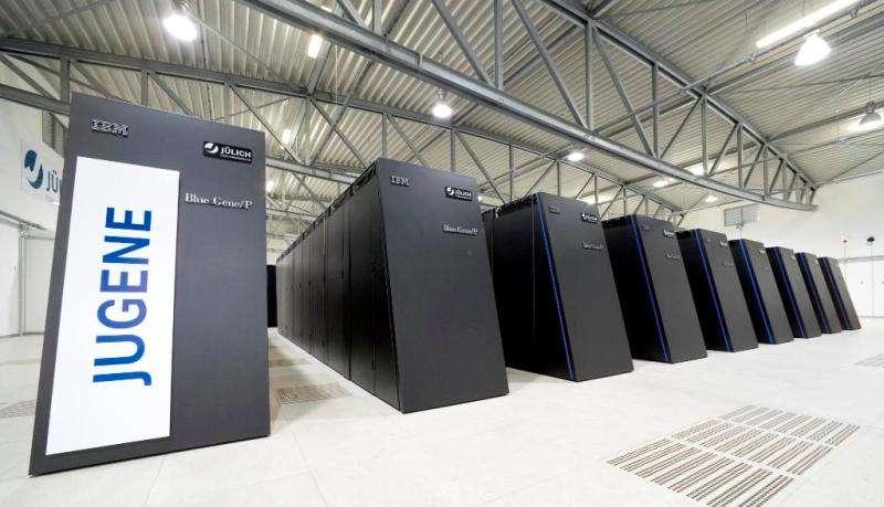 Une vue du superordinateur d'IBM, le Jugene. © Jülich Supercomputing Centre