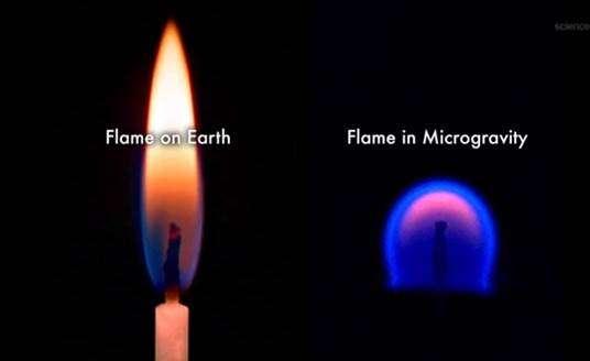 Comparaison entre une flamme brûlant sur Terre (à gauche) et une flamme en microgravité (à droite). © Nasa