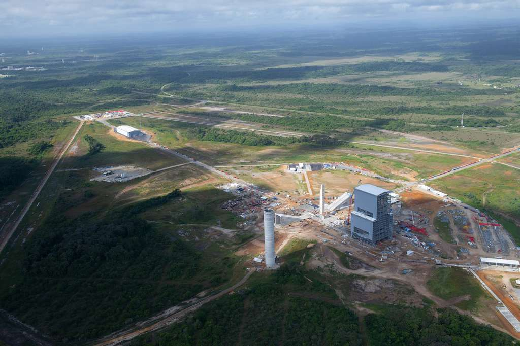 État d'avancement de la construction du pas de tir ELA-4 d'Ariane 6 (juin 2019). © ESA, S. Corvaja