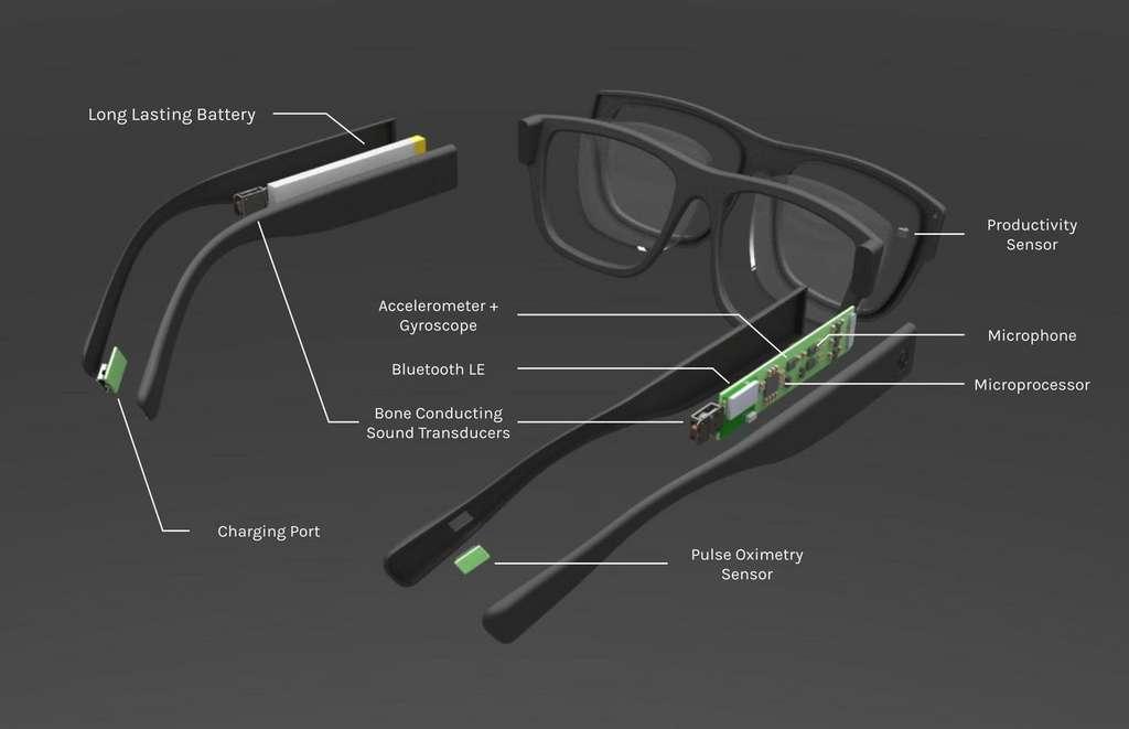 Les lunettes Auctify Specs sont bardées de capteurs : accéléromètre, boussole, microphones, oxymètre de pouls et un transducteur qui propage le son par ostéophonie. © Auctify