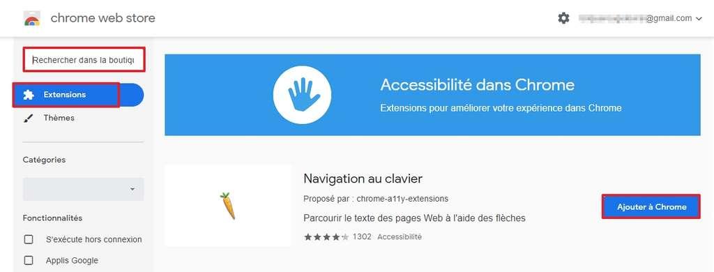 Cliquez sur « Ajouter à Chrome » pour installer une extension. © Google Inc.