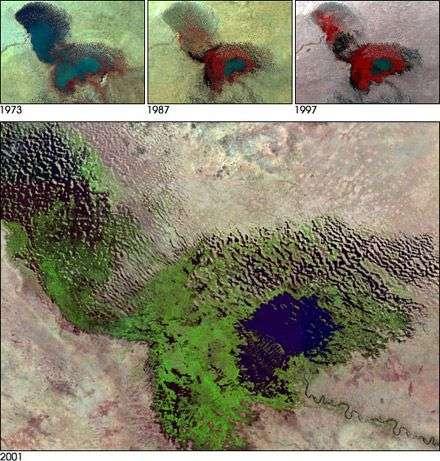 Quasi-disparition du lac Tchad entre 1973 et 2001, vue par le satellite Landsat. Crédit Nasa