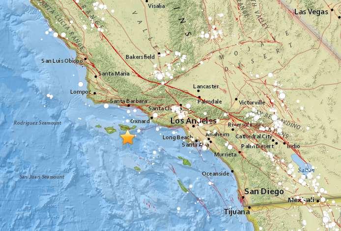 L'épicentre du séisme du 5 avril 2018 se trouvait à 65 km au large de Santa Barbara et à 139 km de Los Angeles. © U.S Geological Survey (USGS)