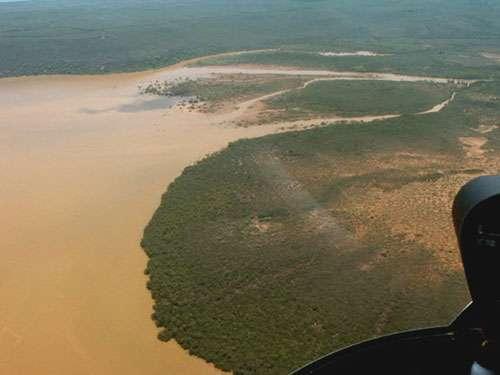 Embouchure dans le lagon calédonien. Les sédiments terrigènes favorisent la progradation de la mangrove mais nuisent aux récifs frangeants. © Jean-Michel Lebigre - Tous droits de reproduction interdit