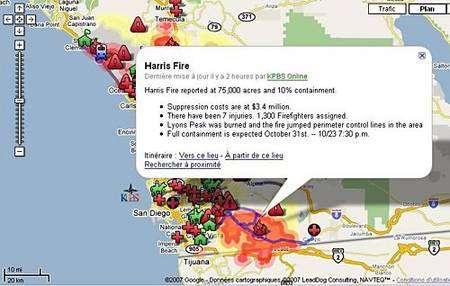 Mentions utiles sur le site de Google Maps, actualisées en temps réel. Crédit Google Maps.
