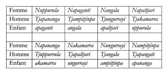 Tableau des règles d'union chez les aborigènes Walpiri. © Éditions Flammarion