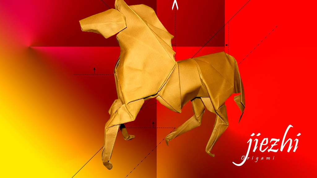 Un cheval au galop en papier