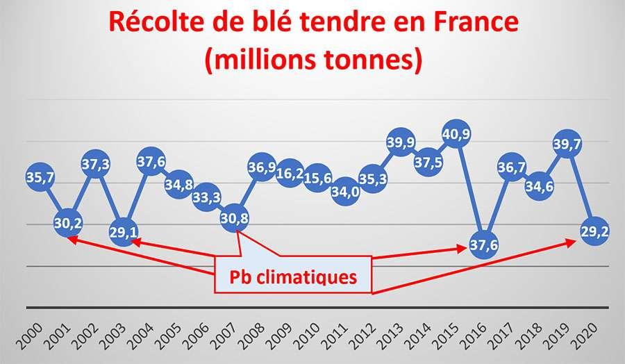 Chaleur et pluviométrie ont modifié les rendements de blé tendre en France. © Bruno Parmentier, tous droits réservés