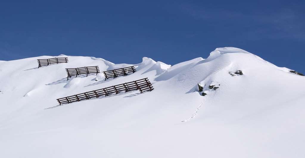 Avis aux skieurs hors pistes ou randonneurs : soyez équipez ! Ici, des claies paravalanches en zone de départ. © Böhringer Friedrich, CC by-sa 2.5