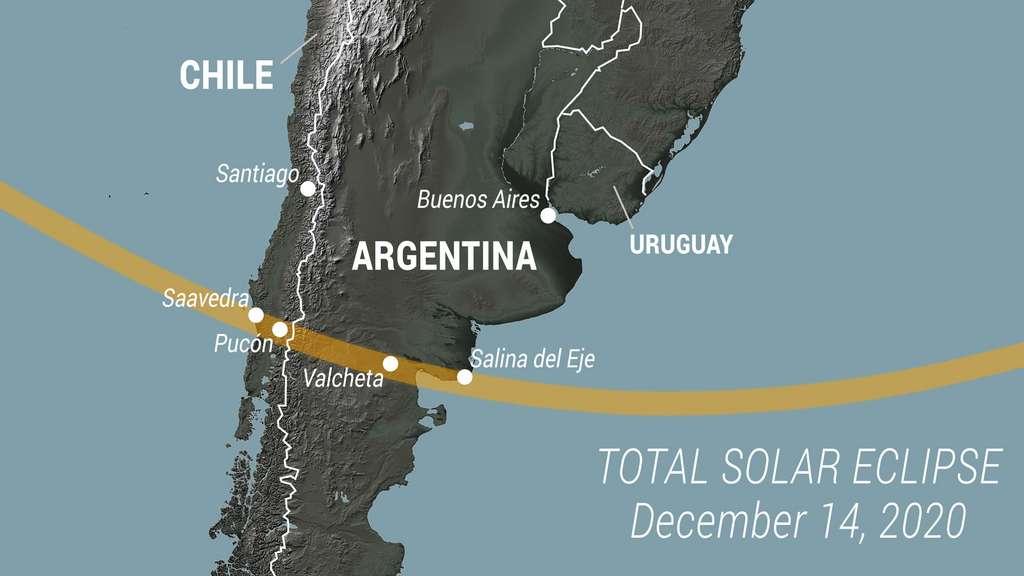 L'éclipse totale de Soleil de ce lundi 14 décembre 2020 sera visible depuis l'Argentine et le Chili. © Nasa