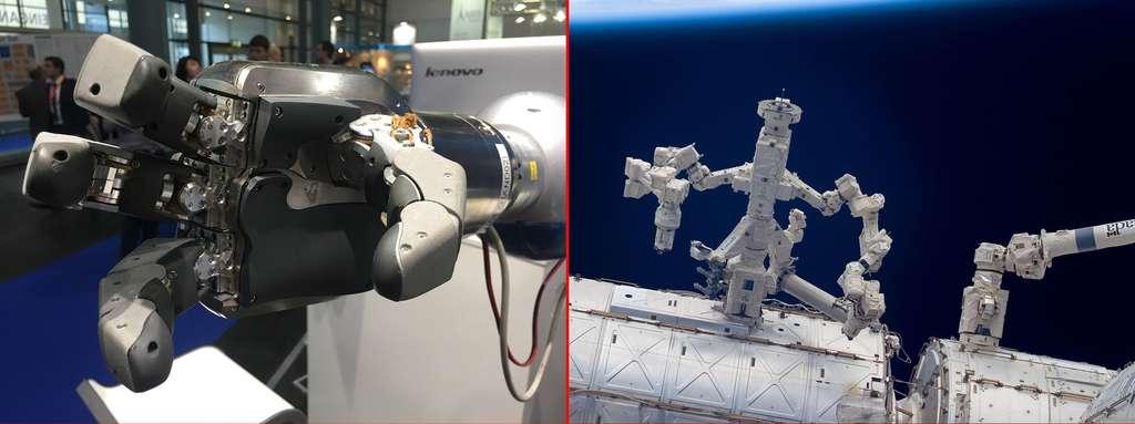 À gauche, la Spacehand du DLR, et, à droite, Dextre, de l'Agence spatiale canadienne, installé sur l'ISS. Plusieurs décennies séparent ces deux bras. © Rémy Decourt et Nasa