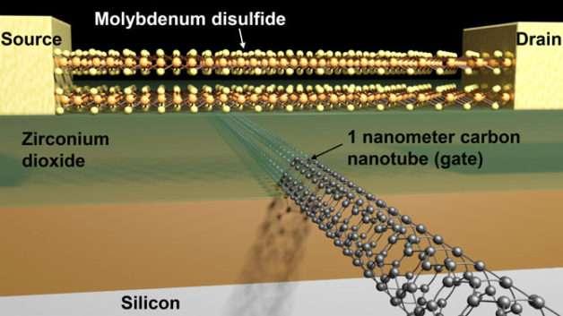Des chercheurs du Berkeley Lab prétendent avoir conçu le transistor le plus petit du monde. Entre la source et le drain, un pont en disulfure de molybdène et une grille constituée d'un nanotube de carbone d'un nanomètre de diamètre. Le dioxyde de zirconium joue ici un rôle d'isolant. © Sujay Desai, UC Berkeley
