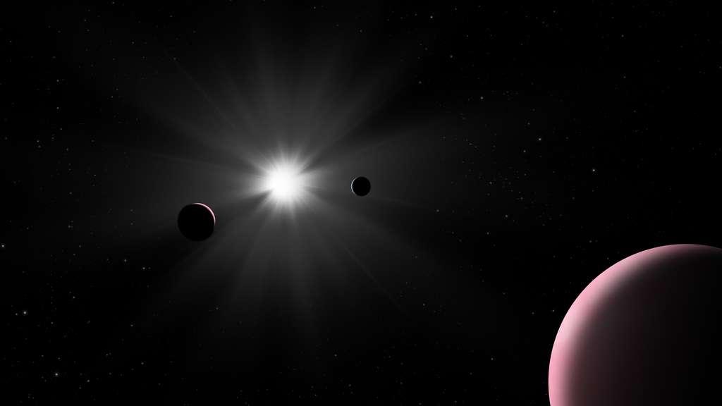 Représentation artistique du système planétaire Nu2 Lupi. © ESA
