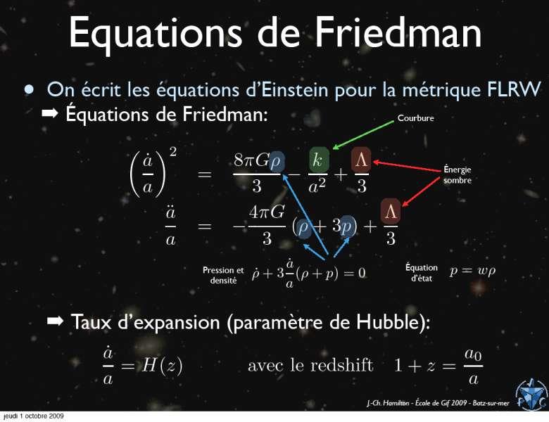En résolvant les équations d'Einstein pour un modèle cosmologique dit de FRLW, apparaissent deux équations différentielles simples, dites de Friedmann, décrivant la vitesse et l'accélération ä(t) de l'expansion à partir du facteur d'échelle a(t), en fonction de la constante cosmologique Λ, de la pression p et de la densité Ρ de matière et de rayonnement. © Jean-Christophe Hamilton.
