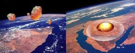 La chute d'une météorite laisse un cratère d'impact sur Terre. © Documents T. Lombry et SDG