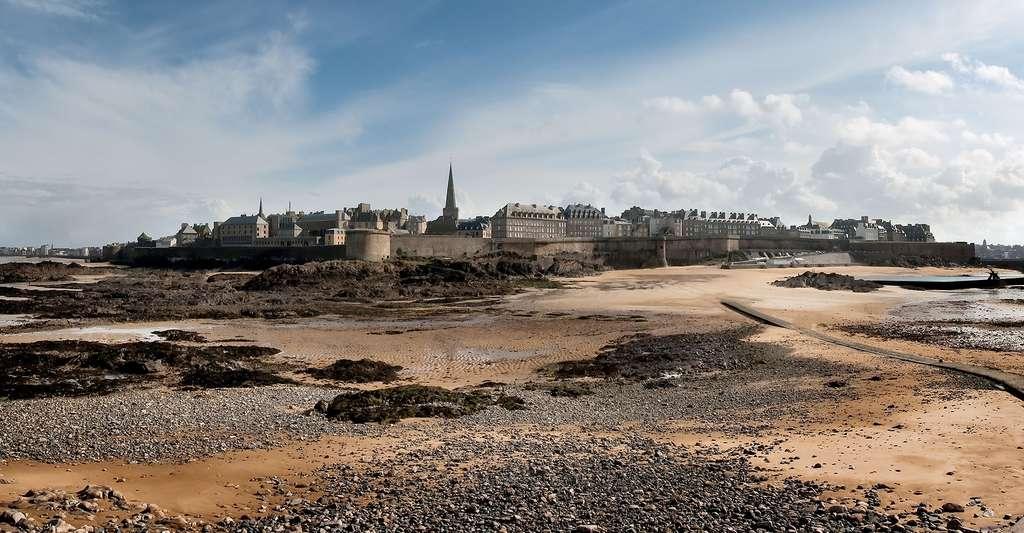 Faire du tourisme en Ille-et-Vilaine, c'est, par exemple, visiter Saint-Malo. Ici, la ville intra-muros vue depuis le Grand Bé, une île inhabitée, à marée basse. © Stephanemartin, CC by-sa 3.0