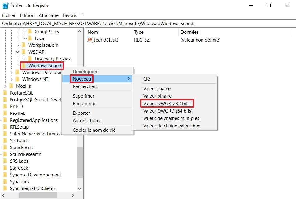 Créez une valeur DWORD pour la clé de registre « Windows Search ». © Microsoft