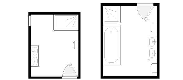 L'espace supplémentaire permet de profiter d'un espace douche ou d'une baignoire droite. Pour optimiser les rangements, associez colonnes et meubles sous vasque. ©Lapeyre