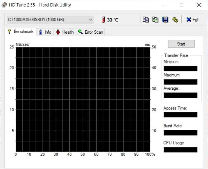 Interface de HD Tune à l'ouverture du logiciel © EFD Software