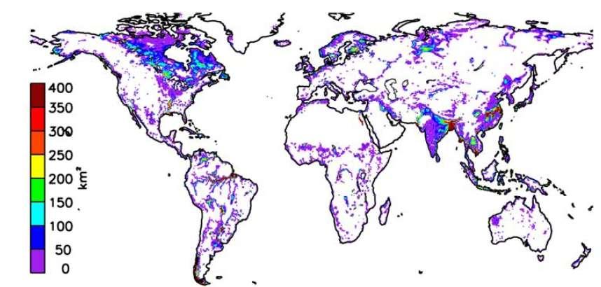 Étendue des surfaces inondées, en moyenne sur l'année, estimée par satellites, entre 1993 et 2007 (les surfaces sont exprimées en km2 ; chaque pixel couvre 773 km2). © Fabrice Papa