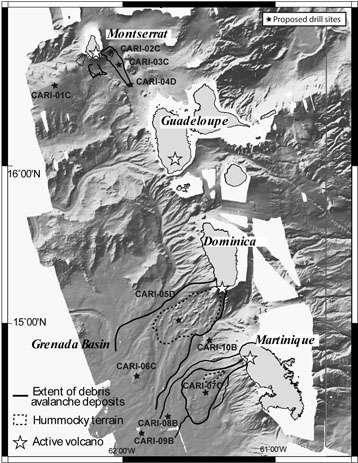 Localisation des sites de forage prévus (étoiles noires). Les forages carottés (130 à 500 mètres) seront réalisés au large de la Martinique, la Dominique et de Montserrat, d'une part dans les avalanches de débris (délimitées par les lignes noires) et d'autre part, dans les sédiments et les téphras (niveaux de cendres volcaniques). © IPGP