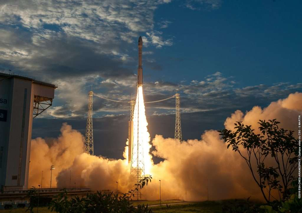 Lancement d'Aeolus le 22 août 2018 par un lanceur Vega. © ESA/Cnes/Arianespace
