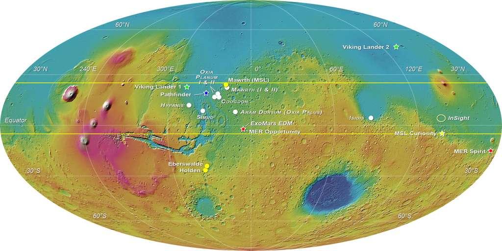 Les sites d'atterrissage des précédentes missions martiennes ainsi que l'ellipse d'atterrissage de la mission Insight, dont le lancement initialement prévu cette année a finalement été reporté à 2018. Cliquez sur la photo pour l'agrandir. © Esa-Roscosmos, LSSWG, E. Hauber