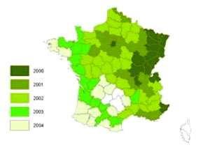La mineuse du marronnier a colonisé presque toute la France entre 2000 et 2004. © Augustin Sylvie - Inra - Reproduction ou utilisation interdites