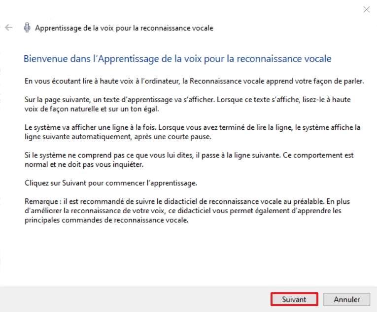 Lisez les consignes, puis cliquez sur « Suivant ». © Microsoft