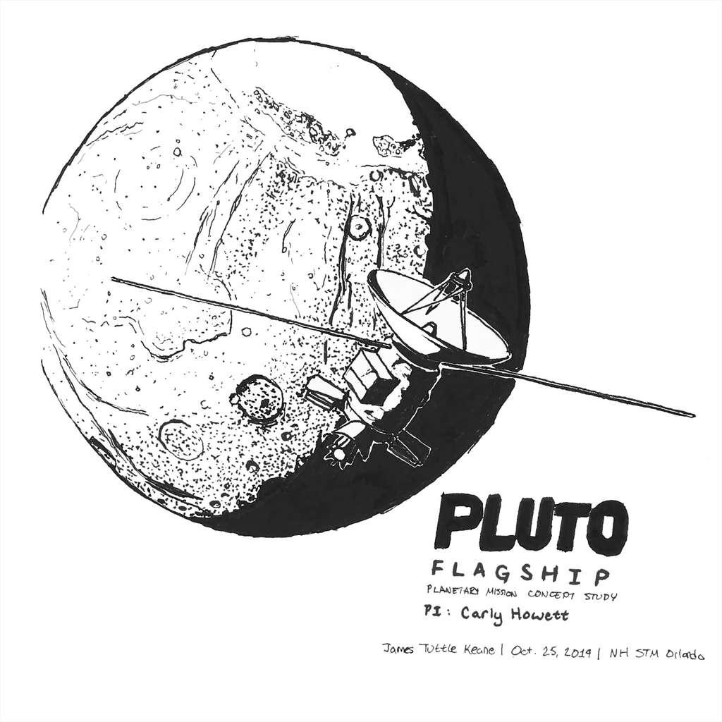 Première esquisse d'une future mission à destination de Pluton. Réalisée par James Tuttle Kean, cette esquisse fournit quelques informations sur ce à quoi pourrait ressembler un orbiter dans le système de Pluton. Sans surprise, elle embarquera un radar matérialisé par ses deux grandes antennes telles de grandes perches longues de plusieurs mètres ou encore une très grande antenne à grand gain, par rapport à la taille du satellite, nécessaire pour communiquer avec la Terre, distante de 30 à 50 unités astronomiques de Pluton ! © James Tuttle Keane